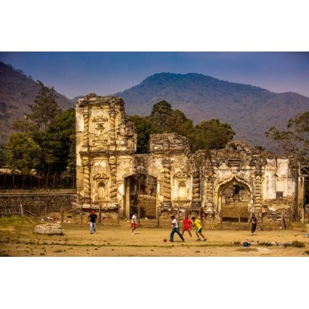 Kids Playing Soccer at Ruins in Antigua, Guatemala, Central America Print Wall Art By Laura