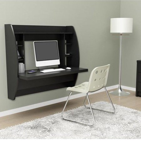 Ktaxon Black Wall Mounted Floating Office Computer Desk Table Storage Shelf ()