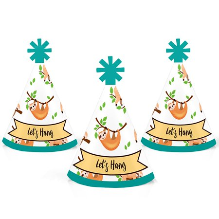 Let's Hang - Sloth - Mini Cone Baby Shower or Birthday Party Hats - Small Little Party Hats - Set of