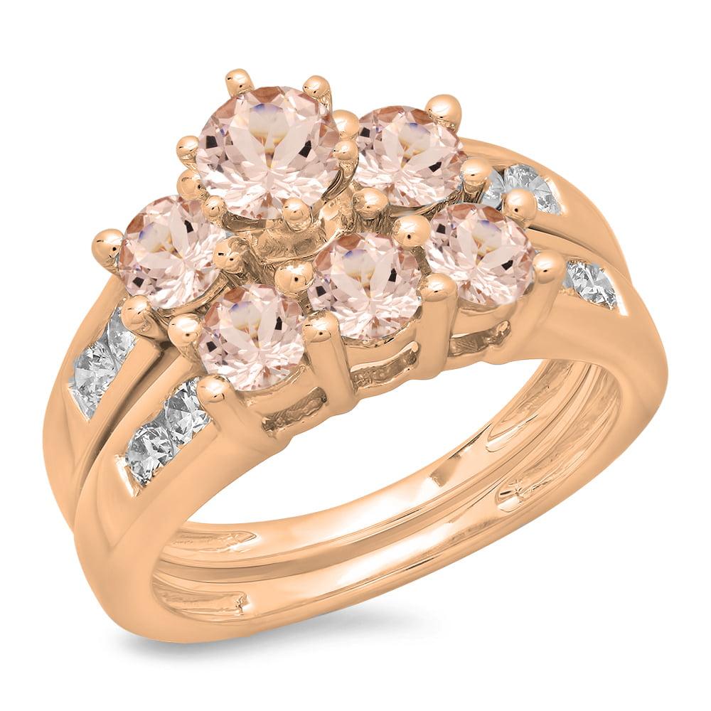 Dazzling Rock 14K Rose Gold Round Morganite & White Diamo...