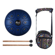 5.5 Inch Mini 8-Tone Steel Tongue Drum C Key Percussion Instrument Handpan Drum with Drum Mallets Carry Bag
