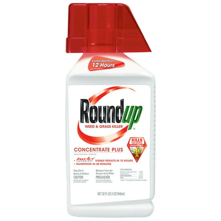 Roundup Weed & Grass Killer Concentrate Plus, 32 oz., Results in 12 Hours