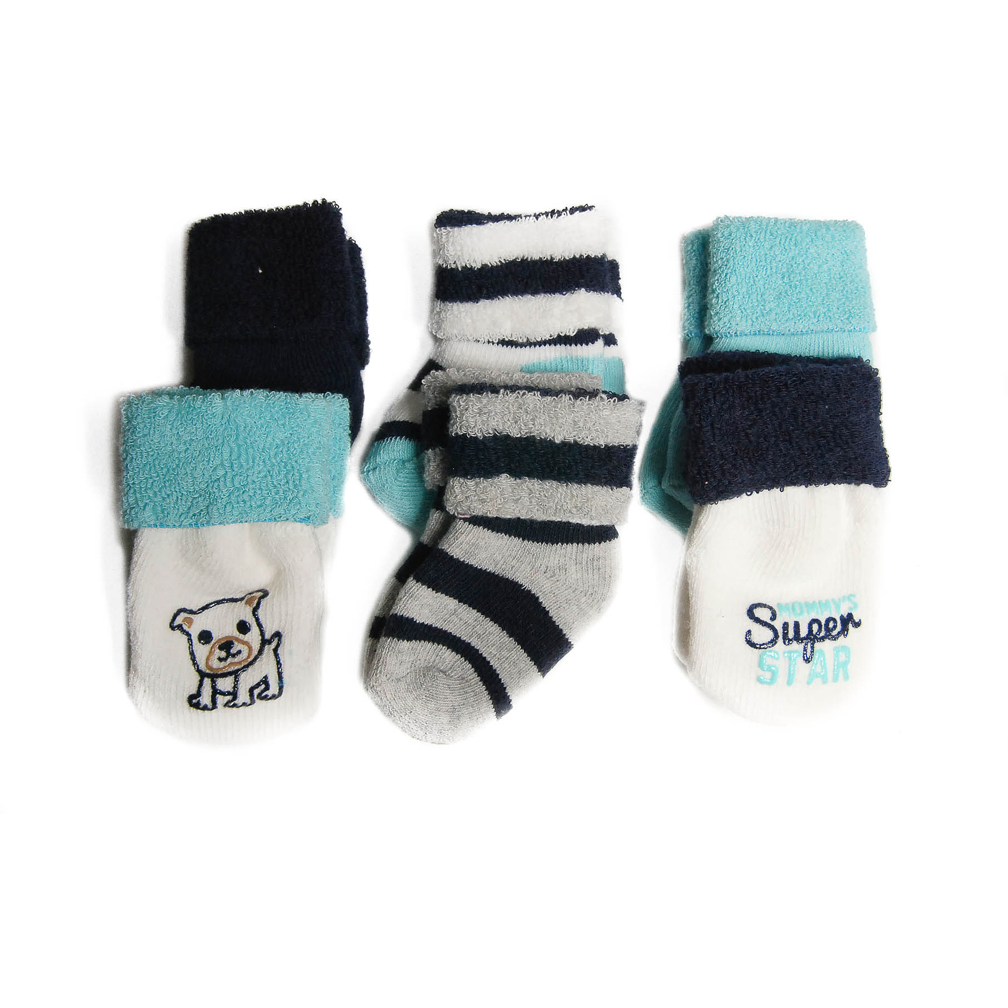 Child of Mine by Carters Newborn Baby Boy Terry Cuff Socks, 6 Pairs