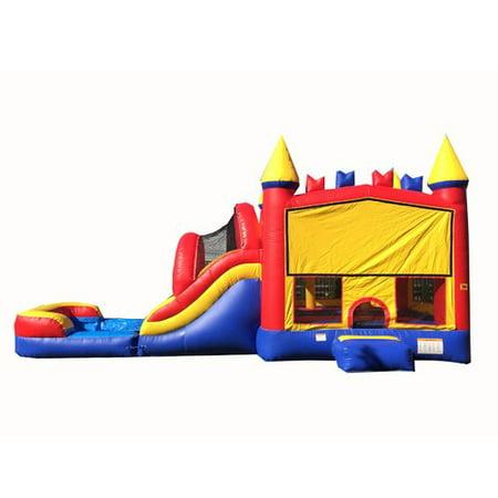 Mega Water Slide - JumpOrange Rainbow Bricks Mega Inflatable Water Slide Combo Bounce House
