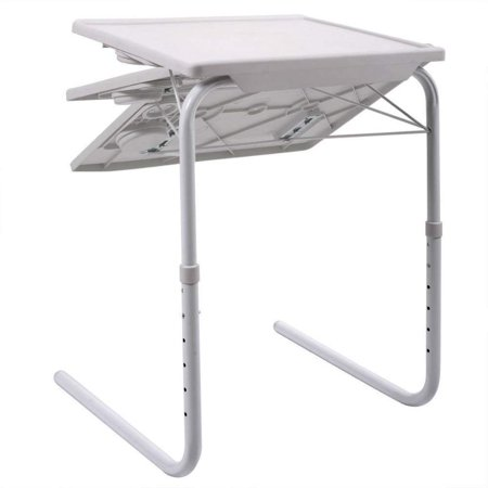 UBesGoo Smart Table Foldable Table Folding Table Adjustable Tray White Folding TV Tray Table, Portable Laptop Table with 6 Height Adjustments for Bed, Sofa