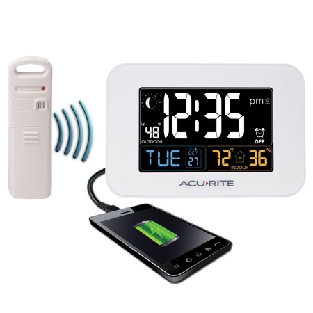 AcuRite Alarm Clock with Outdoor Temperature and USB Charger