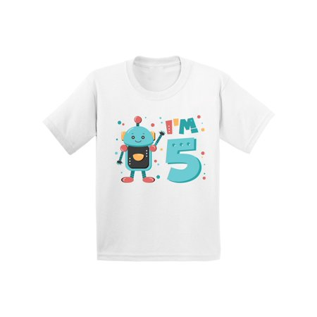 Awkward Styles 5th Birthday Shirt Cute Robot Birthday Shirt Gifts for 5 Year Old Fifth Birthday Shirt 5th Year Old Shirt My 5th Birthday Gifts for Birthday Boy Birthday Gifts - Christmas Gifts For 5 Year Old Boy