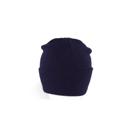 Long Knit Beanie Ski Cap Hat in Navy Blue