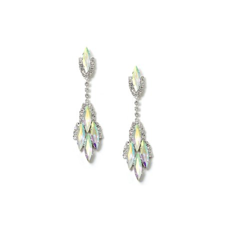 Silver Crystal Rhinestone with Aurora Borealis Cat Eye Stones Dangle Earrings