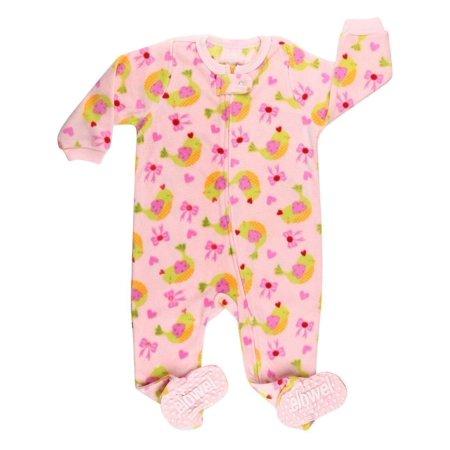 Elowel Baby Girls Pink Bird Bow Print Footed Fleece Sleeper Pajama