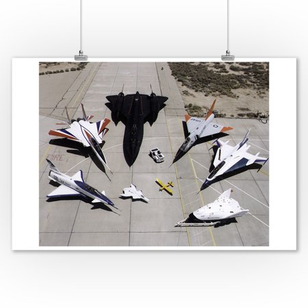 1997 Dryden Research Aircraft Fleet on Ramp Photograph (9x12 Art Print, Wall Decor Travel Poster) Aircraft Real Photo