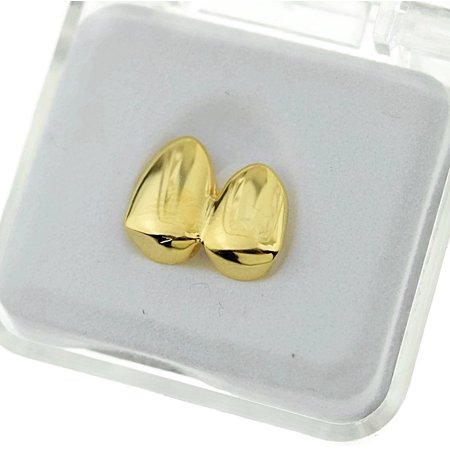 14k Gold Plated Double Two Tooth Grillz Left Side 2-Tooth Caps Slugs Hip Hop - Fake Gold Grillz
