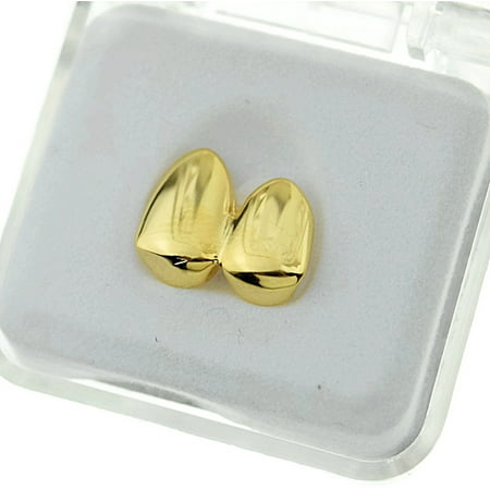 Diamond Gold Tone Grillz - 14k Gold Plated Double Two Tooth Grillz Left Side 2-Tooth Caps Slugs Hip Hop Grills