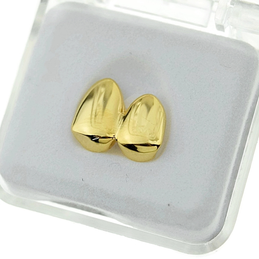 14k Gold Plated Double Two Tooth Grillz Left Side 2-Tooth Caps Slugs Hip Hop Grills
