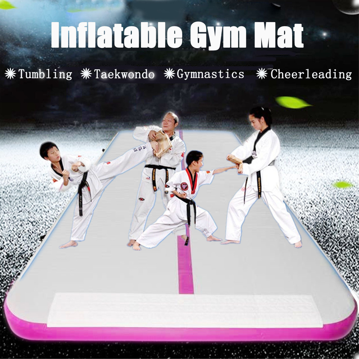 PVC Inflatable Gym Mat Air Tumbling Track Gymnastics Cheerleading Training Board Equipment Home Gym+Pump,26ft