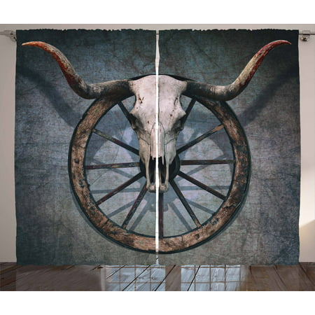 Barn Wood Wagon Wheel Curtains 2 Panels Set, Wild West Themed Decor with Bull Skull on Cart Wheel Scratched Wall, Window Drapes for Living Room Bedroom, 108W X 84L Inches, Multicolor, by Ambesonne (Chicago Bulls Drapes)