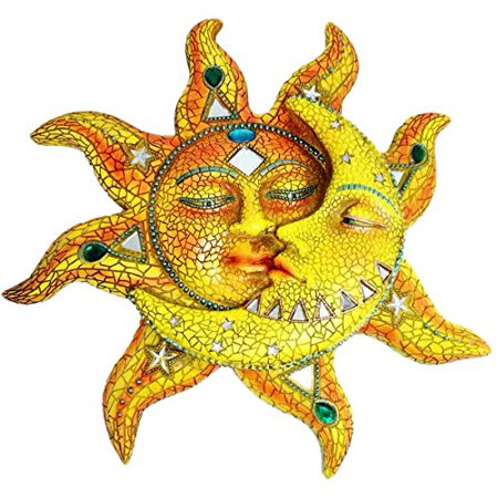 Sun Hanging Metal Decor (Beautiful Mosaic Celestial Sun and Moon Day Surrendering Unto Night Wall Sculpture Hanging Decor Figurine)