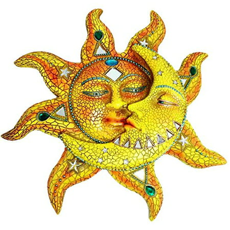 Beautiful Mosaic Celestial Sun and Moon Day Surrendering Unto Night Wall Sculpture Hanging Decor Figurine