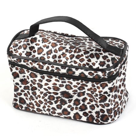 Unique Bargains Leopard Print Mirror Pockets Polyester Makeup Cosmetic Bag for Lady (Leopard Cosmetic)