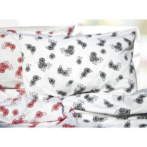 Tribeca Living Rose Printed Extra Deep Pocket Flannel Sheet Set