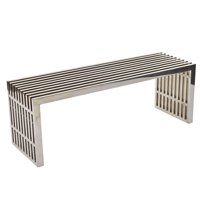 "Hawthorne Collections 46.5"" Metal Dining Bench in Silver"