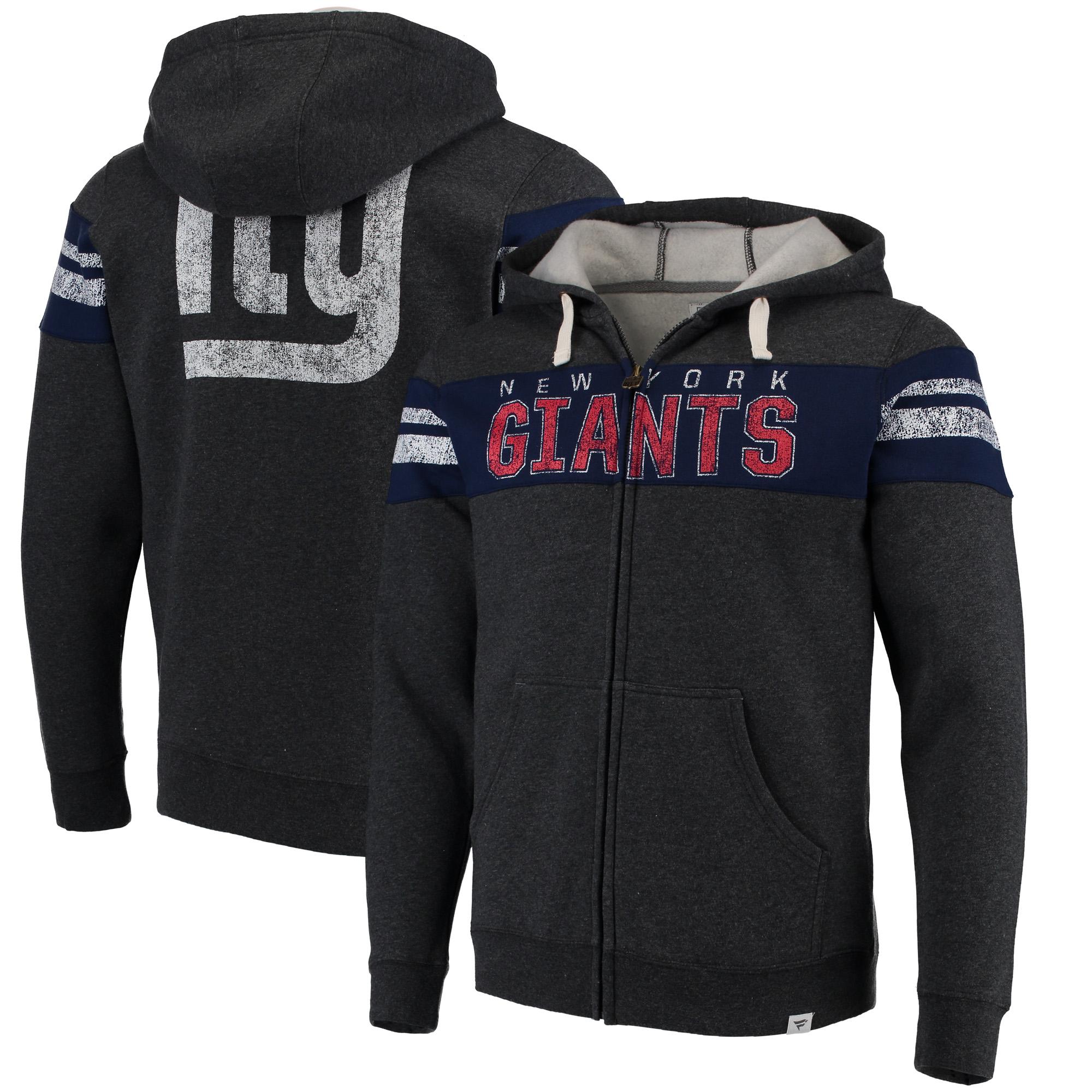 New York Giants NFL Pro Line by Fanatics Branded True Classics Throwback Full-Zip Hoodie - Heathered Gray
