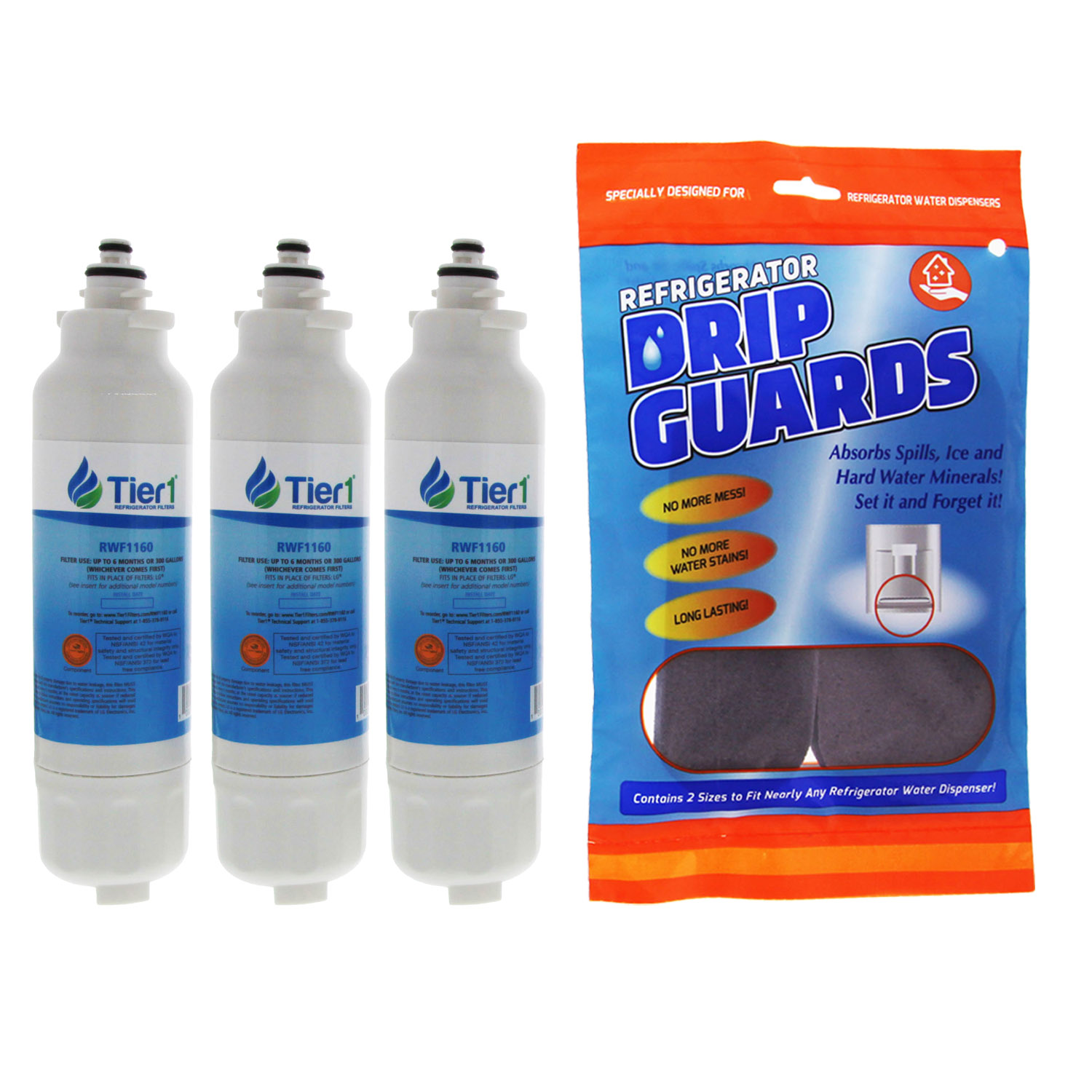 Tier1 Replacement for LG LT800P, ADQ73613401, ADQ73613402, Kenmore 9490, 46-9490, 469490, ADQ32617801 Refrigerator Water Filter (3-Pack) + DripGuard in Black