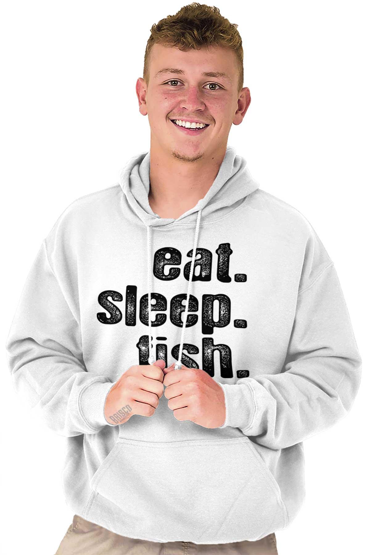 SLEEP EAT TOP GIFT FISHING ANGLING FISH HOODIE ADULT//KIDS PERSONALISED