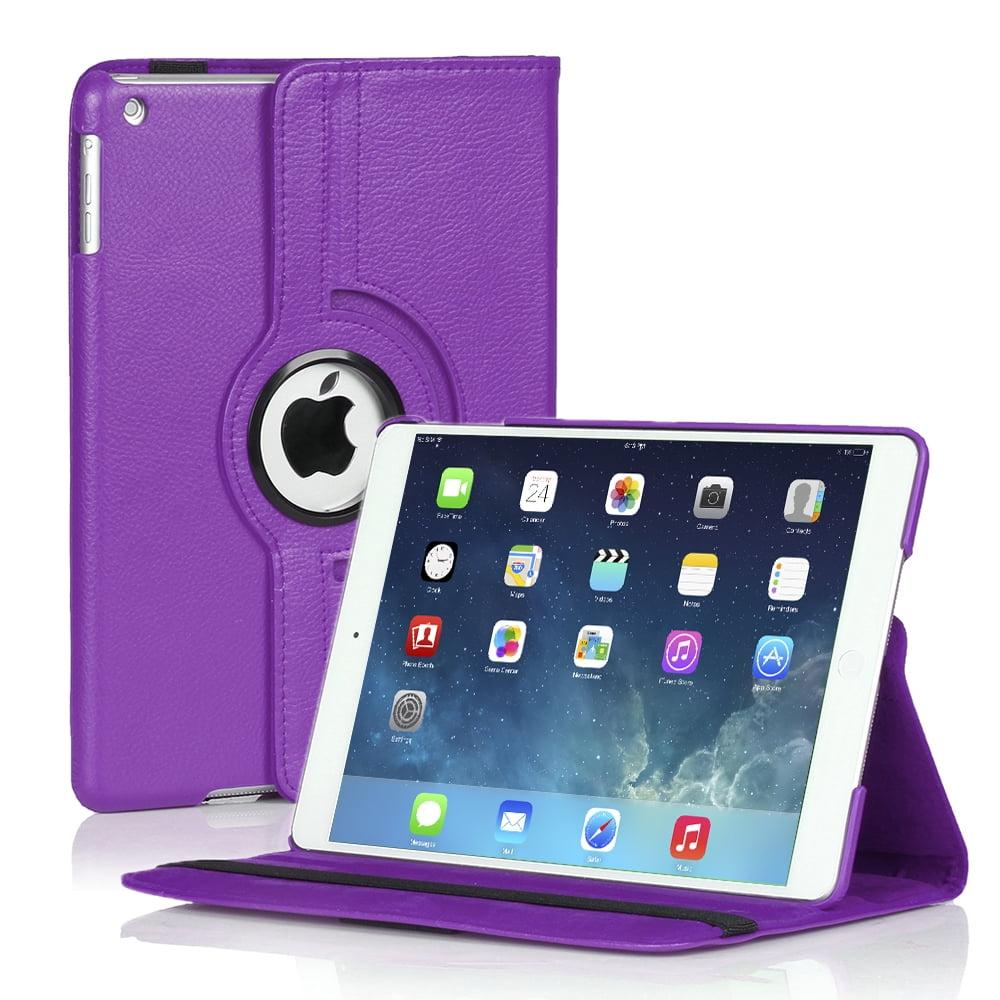 iPad Mini Rotating Case (Purple) 360 Degree Stand Smart Cover Flip Protective PU Leather For iPad Mini 3, iPad Mini 2 & 1,  Multi Viewing Angles, Auto Sleep & Wake Feature & Stylus Holder