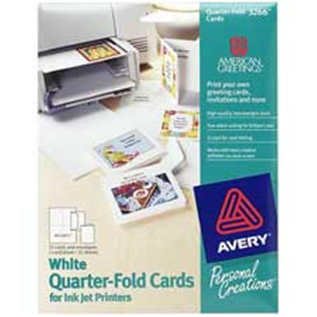 Avery Consumer Products AVE03266 Quarter-Fold Card- 4-.25in.x5-.50in.- 20 Cards-Env- White