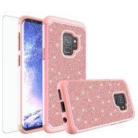 Galaxy S8 Case w/[Screen Protector] Glitter Bling Diamond Bumper Cute Galaxy S8 Phone Case for Samsung Galaxy S8 Protective Case Cover for Girl Women - Rose Gold