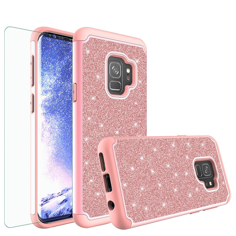 Galaxy S9 Case w/[Screen Protector] Glitter Bling Diamond Bumper Cute Galaxy S9 Phone Case for Samsung Galaxy S9 Protective Case Cover for Girl Women - Rose Gold
