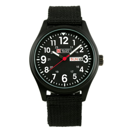 Army Logo Watch - Military Royale Quartz Watch Mens Black Case Date Display Army Canvas Fabric