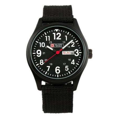 Military Royale Quartz Watch Mens Black Case Date Display Army Canvas Fabric