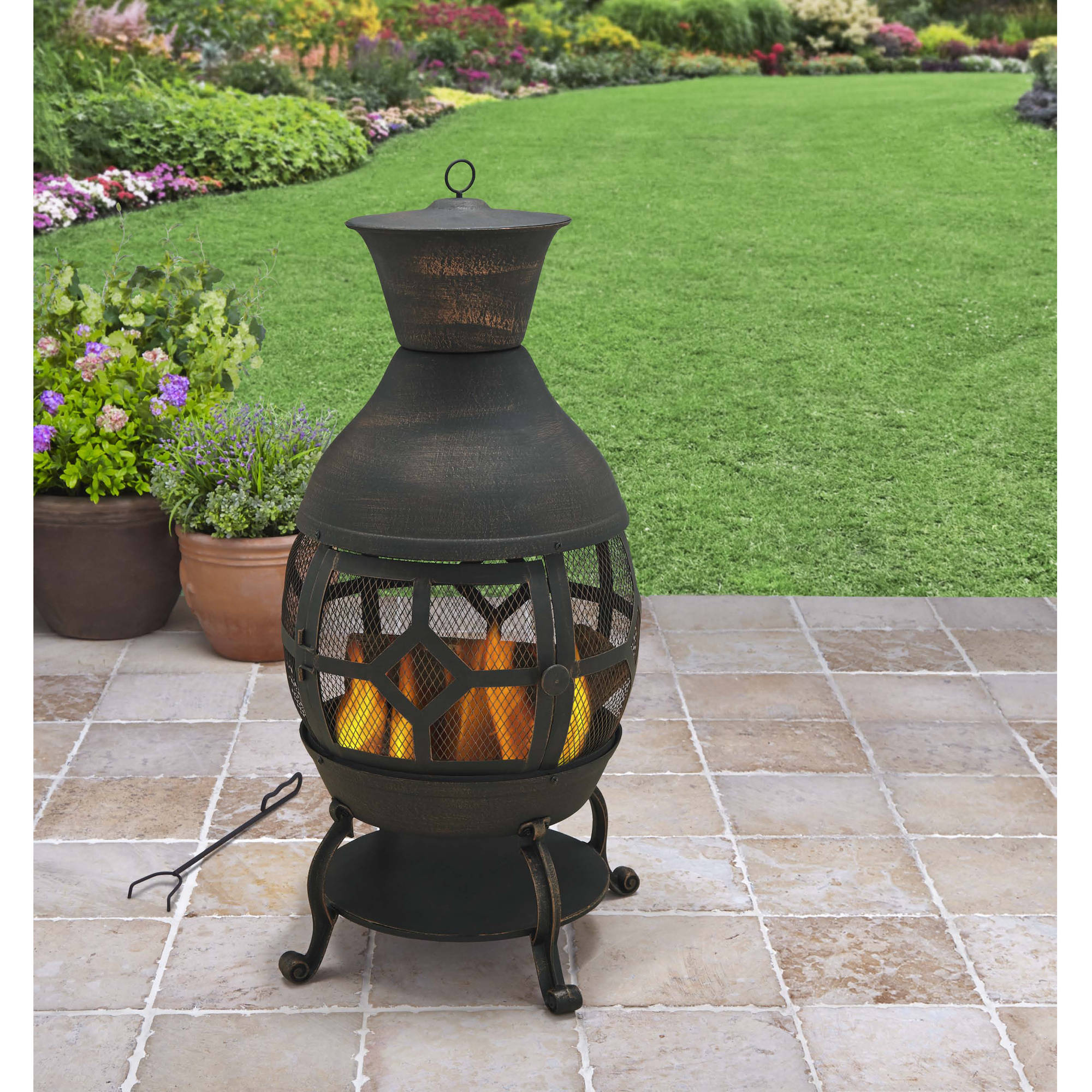 Better Homes And Gardens Cast Iron Chiminea, Antique Bronze   Walmart.com