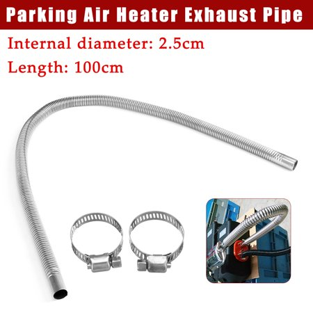 Stainless Steel  Air Heater Tank Exhaust Pipe Gas Air Diesel Vent Hose Parking Heater for Car Silver ()