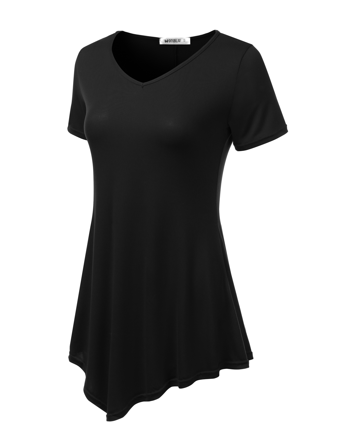 Doublju - Doublju Women s Short Sleeve Swing Tunic Tops for Leggings Flowy  Basic T Shirt Plus Size BLACK S - Walmart.com