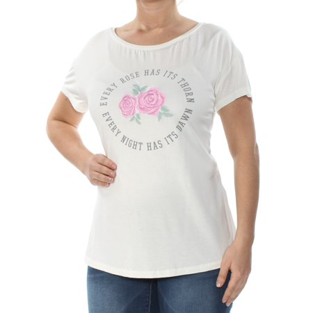 - TRUE VINTAGE Womens Ivory Rose Embroidered Graphic Short Sleeve Jewel Neck T-Shirt Top  Size: L