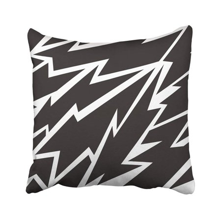 WOPOP Abstract Geometric Pattern Black And White With Lightnings Strong For Boys And Girls Pillowcase Throw Pillow Cover 18x18 - Black Lightning Pattern