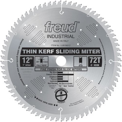 "Freud LU91M012 72-Tooth ATB Thin Kerf Sliding Miter Saw Blade with 1"" Arbor, 12"""