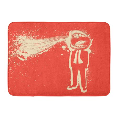 GODPOK Quirky Blue Mouth Man Screaming Big Crazy Rug Doormat Bath Mat 23.6x15.7 inch - Screaming Doormat