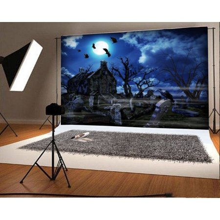 HelloDecor Polyster 7x5ft Photography Backdrop Halloween Horror Moon Night Haunted House Old Tree Stone Tablet Gloomy Scary Costume Party Background Kids Children Adults Photo Studio Props