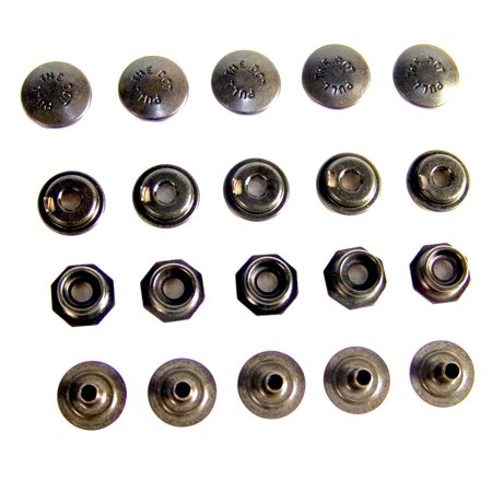 Pull The Dot Snap Fastener, Locking Snap, One-Way Snap, Black Oxide Finish, 5 Piece, Pull The Dot Fastener