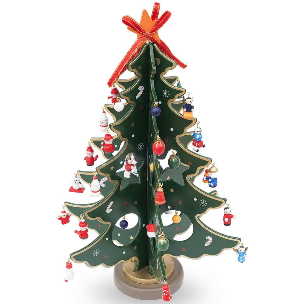 Miniature xmas tree ornaments - 12 5 Wooden Tabletop Christmas Tree With Miniature Christmas Ornaments Walmart Com
