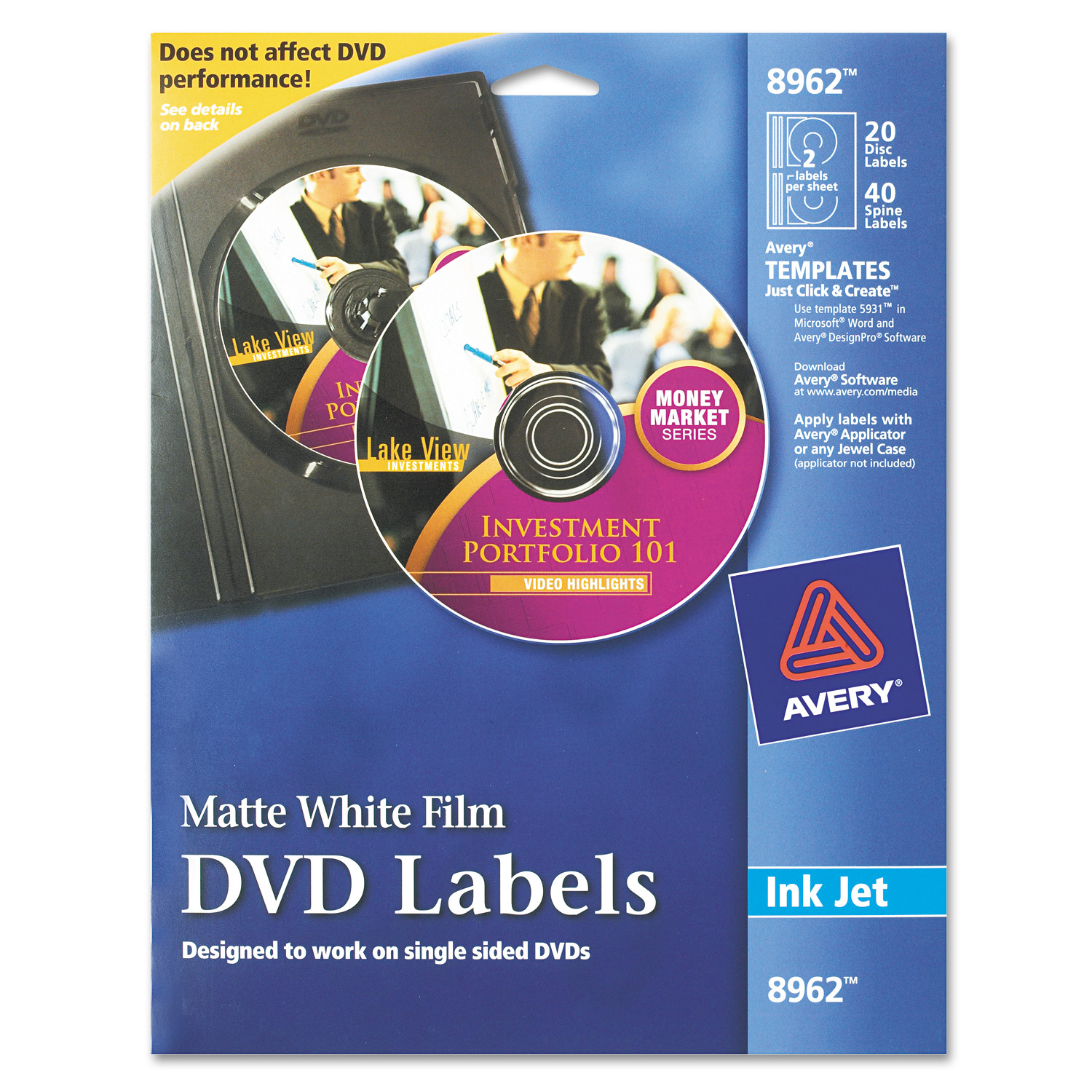 Avery Inkjet Dvd Labels Matte White 20pack Walmart