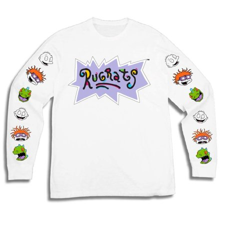 Nickelodeon Mens Long Sleeve Shirt - #TBT Mens 1990's Clothing - Rugrats, Hey Arnold, Ren and Stimpy (White, Large) Arnold Is Numero Uno T-shirt