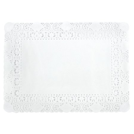 250ea - 7 X 11-3/4 White Greaseproof Rctnglr Ppr Doilies by Paper Mart - Doilies Paper