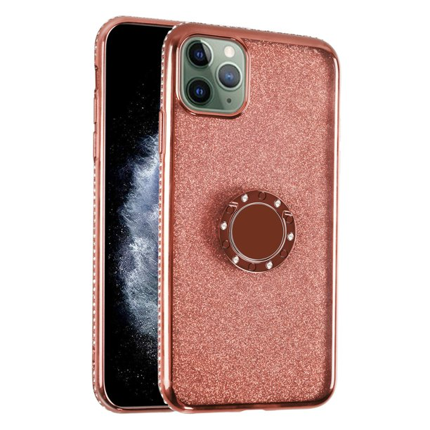 Mignova Iphone 11 Pro Max Cute Case Glitter Bling Diamond Rhinestone Bumper With Ring Grip Kickstand Protective Thin Girly Iphone 11 Pro Max 6 5 Inch Case 2019 For Women Girl Rose Gold