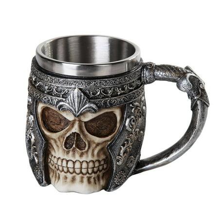 Ebros Medieval Viking Warrior Helmet Skull Mug Gothic Tankard 11oz Beer Mug Drinking Vessel