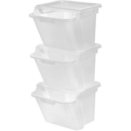 IRIS 41.5 Quart Recycle Storage Bin, 3 Pack, Clear